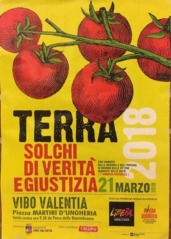TERRA - Solchi di Verità e Giustizia - 21 Marzo 2018 - Piazza Martiri D'ungheria - Inizio Corteo - Ore 9,30 Parco delle  Rimembranze