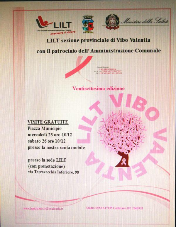 LILT sezione provinciale di Vibo Valentia - Visite Gratuite Piazza Municipio mercoledì ore 10/12 e Sabato 26 ore 10/12  - e presso la sede LILT (con prenotazione)
