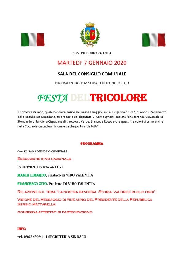 FESTA DEL TRICOLORE - MARTEDI' 7 GENNAIO 2020 SALA DEL CONSIGLIO COMUNALE ORE 12,00