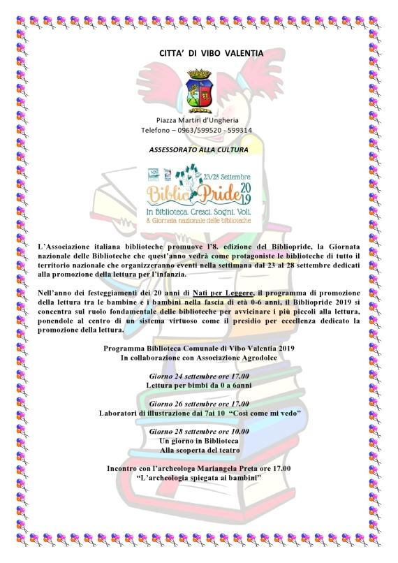 24-26-28 Settembre 2019 - Biblioteca Comunale di Vibo Valentia  -  Bibliopride