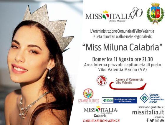 """Domenica 11 Agosto 2019 Ore 21,30 -  Miss Italia 80 -Patrizia Mirigliani - """"Miss Miluna Calabria"""" -  Area Interna Piazzale Capitaneria di Porto - Vibo Marina"""