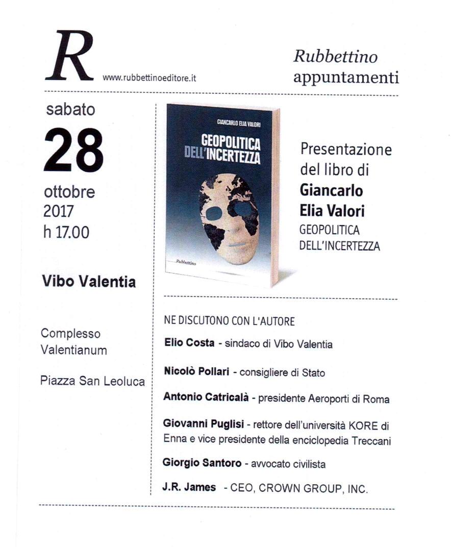 """Presentazione del libro di Giancarlo Elia Valori """"Geopolitica dell'incertezza"""""""